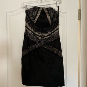 Jessica McClintock Black Lace Strapless Dress